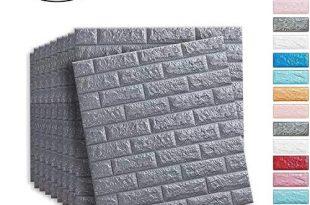 Soontrans 3D Tapete Steinoptik Selbstklebend Wandpaneele Ziegel Tapete für Badezimmer Balkon Raufasertapete Küchen Fliesen, 77 x 70 cm (10 Stk, Grau)