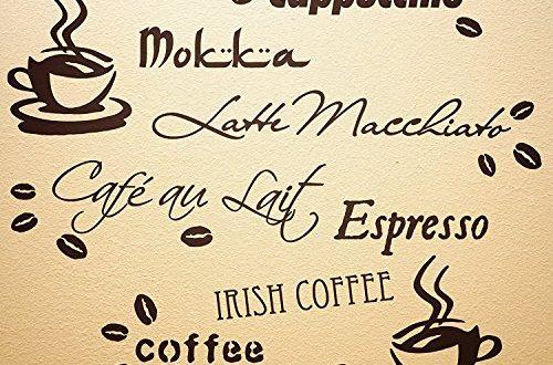 WANDfee Wandtattoo Küche Kaffee Spruch Kaffeetasse Kaffeebohnen Wandsticker Coffee Cafe Wandaufkleber Dunkelbraun